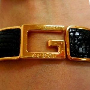 Gucci Brown Textured Leather Gold 'G' Logo Clamper